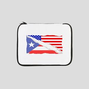 """Puerto Rican American Flag 13"""" Laptop Sleeve"""