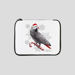 "Christmas African Grey Parrot 13"" Laptop Sleeve"