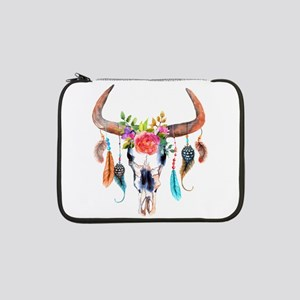 """Colorful Bull Horns & Skull Flow 13"""" Laptop Sleeve"""