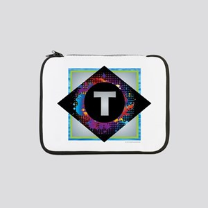 "T - Letter T Monogram - Black Di 13"" Laptop Sleeve"