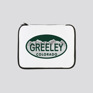 """Greeley Colo License Plate 13"""" Laptop Sleeve"""