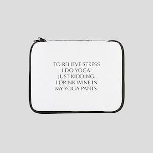 "RELIEVE STRESS wine yoga pants-Opt gray 13"" Laptop"
