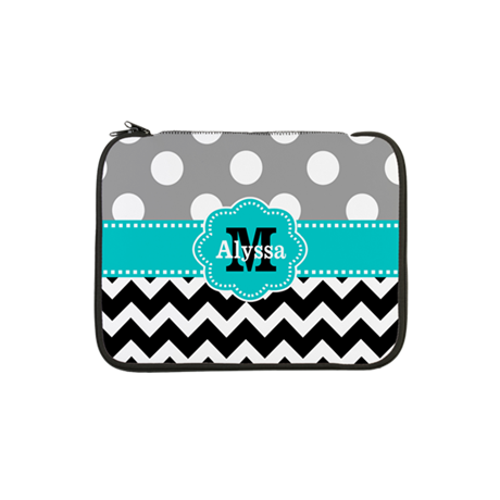 "Gray Black Teal Dots Chevron Personalized 13"" Lapt"