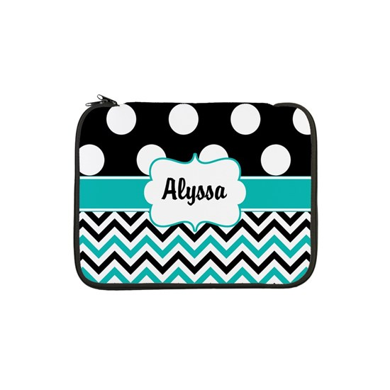Black Blue Dots Chevron Personalized