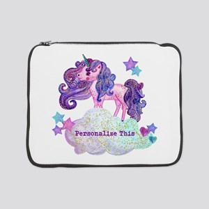 "Cute Personalized Unicorn 15"" Laptop Sleeve"