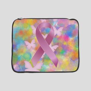 "Pink Awareness Ribbon 15"" Laptop Sleeve"