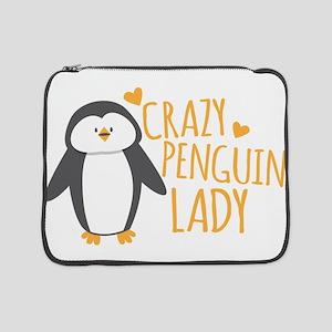 "Crazy Penguin Lady 15"" Laptop Sleeve"