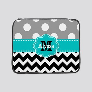 "Gray Black Teal Dots Chevron Personalized 15"" Lapt"