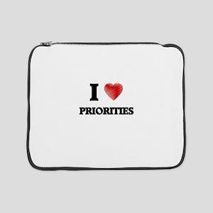 "I Love Priorities 15"" Laptop Sleeve"