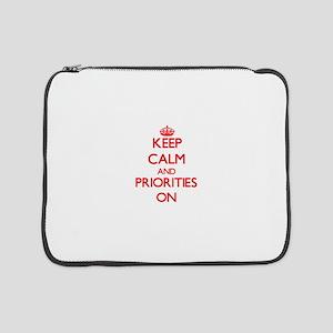"Keep Calm and Priorities ON 15"" Laptop Sleeve"