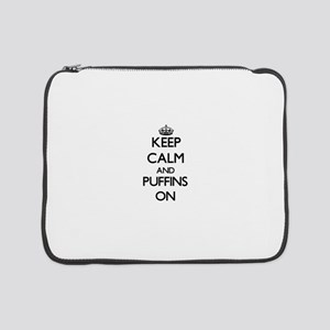 "Keep calm and Puffins On 15"" Laptop Sleeve"