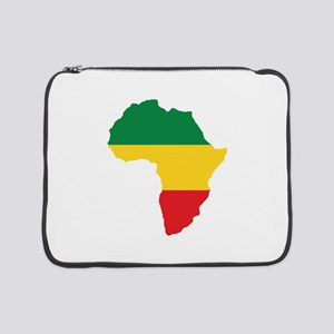 """Green, Gold and Red Africa Flag 15"""" Laptop Sleeve"""
