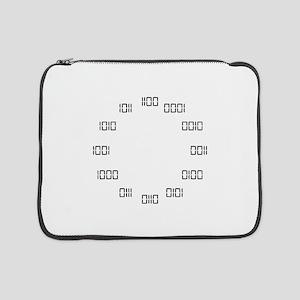 "Binary Clock 15"" Laptop Sleeve"