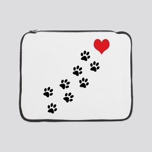 "Paw Prints To My Heart 15"" Laptop Sleeve"