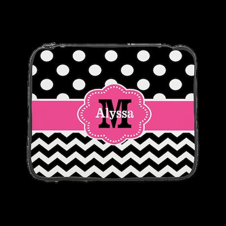 """Pink Black Dots Chevron Personalized 15"""" Laptop Sl"""