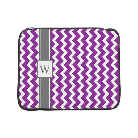 "Purple Grey Chevron Monogram 15"" Laptop Sleev"