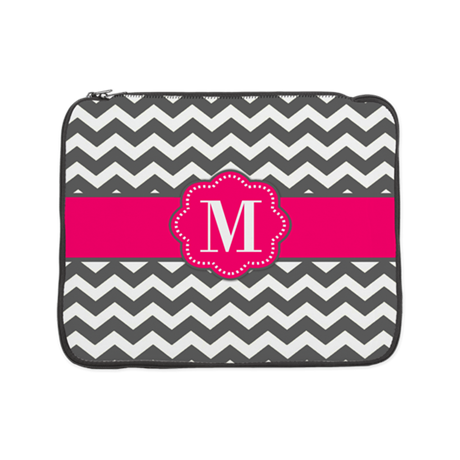 "Gray Pink Chevron Monogram 15"" Laptop Sleeve"