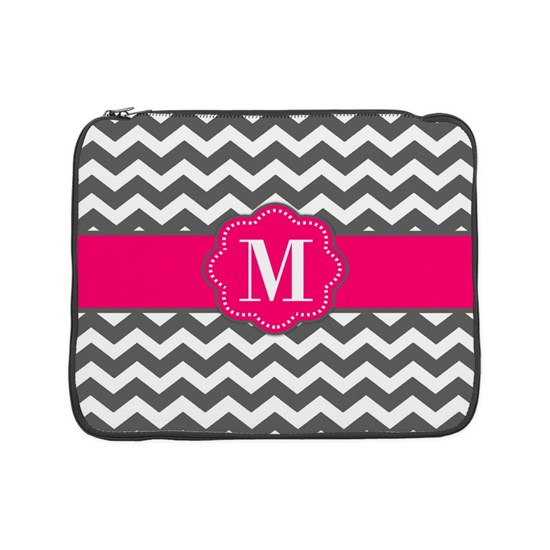Gray Pink Chevron Monogram