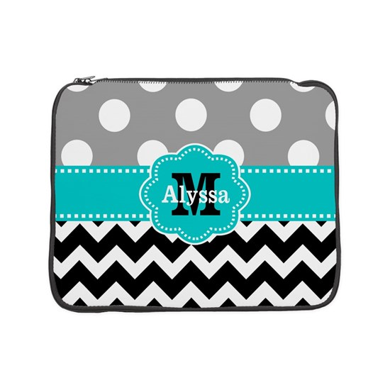 Gray Black Teal Dots Chevron Personalized