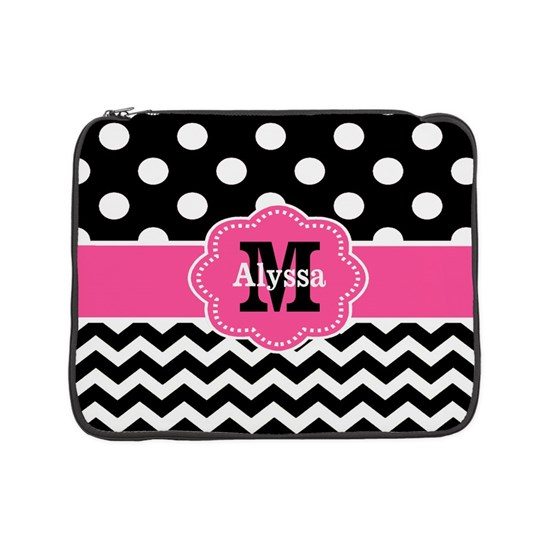 Pink Black Dots Chevron Personalized