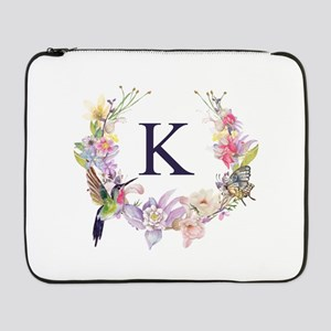 "Hummingbird Floral Wreath Monogram 17"" Laptop Slee"