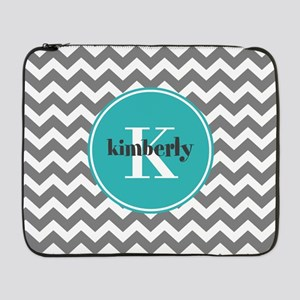 "Gray Chevron with Teal Monogram 17"" Laptop Sleeve"