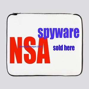 "NSA Spyware Sold Here 17"" Laptop Sleeve"