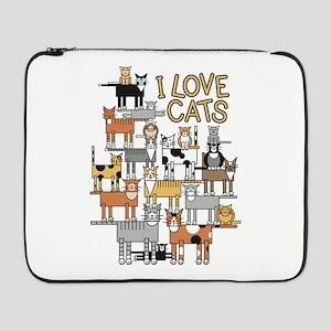 """I LOVE CATS 17"""" Laptop Sleeve"""