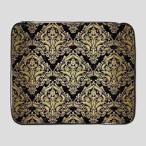 """DAMASK1 BLACK MARBLE & GOLD BRUS 17"""" Laptop Sleeve"""