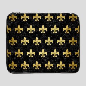 "ROYAL1 BLACK MARBLE & GOLD BRUSH 17"" Laptop Sleeve"