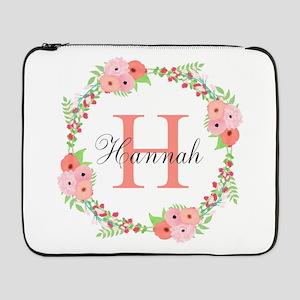 """Watercolor Floral Wreath Monogram 17"""" Laptop Sleev"""