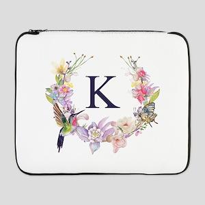 "Hummingbird Floral Wreath Monogram 17"" Laptop Slee"