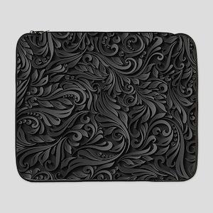 "Black Flourish 17"" Laptop Sleeve"