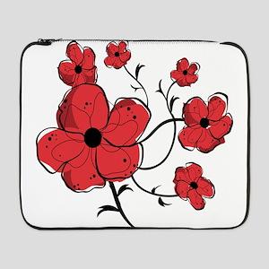 """Modern Red and Black Floral Design 17"""" Laptop Slee"""
