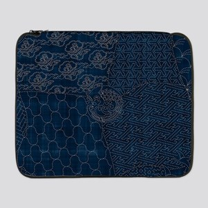 "Sashiko-style Embroidery 17"" Laptop Sleeve"