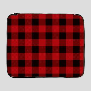 "Red Plaid 17"" Laptop Sleeve"