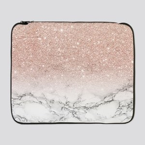 """Faux rose pink glitter ombre whi 17"""" Laptop Sleeve"""