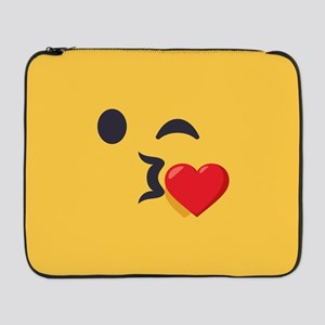 "Winky Kiss Emoji Face 17"" Laptop Sleeve"