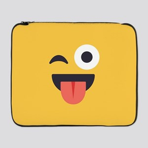 "Winky Tongue Emoji Face 17"" Laptop Sleeve"