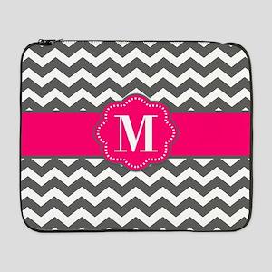 "Gray Pink Chevron Monogram 17"" Laptop Sleeve"