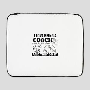 "Baseball Coach Humor 17"" Laptop Sleeve"