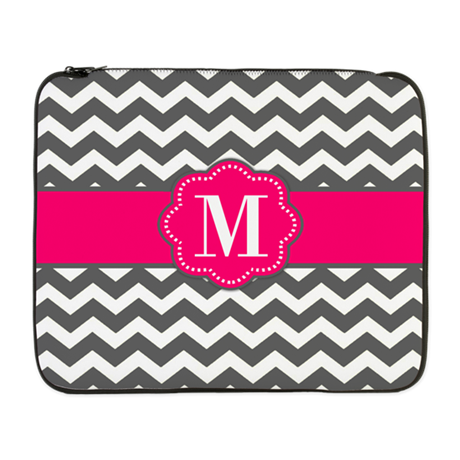 "Gray Pink Chevron Monogram 17"" Laptop Sleeve"