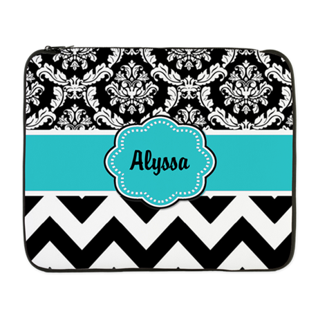 "Blue Black Damask Chevron 17"" Laptop Sleeve"