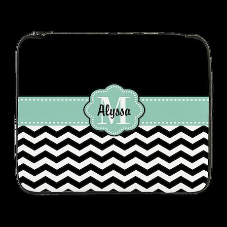 "Black Mint Chevron Personalized 17"" Laptop Sleeve"