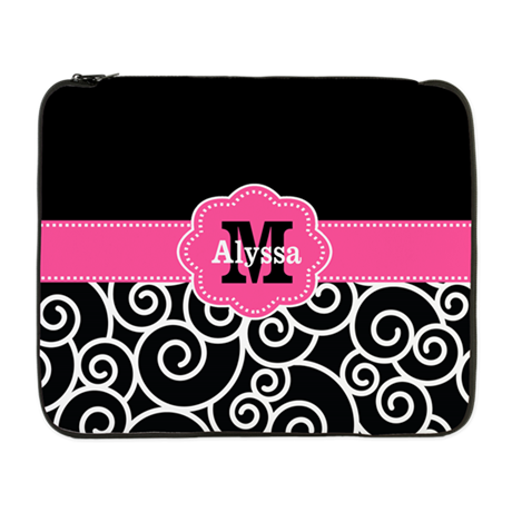 "Black Pink Swirl Personalized 17"" Laptop Sleeve"