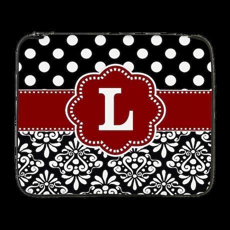 """Black Red Dots Damask Monogram 17"""" Laptop Sleeve"""