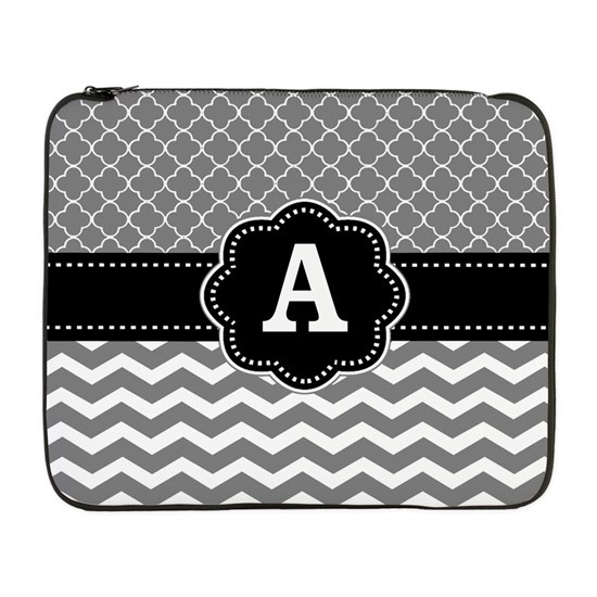 Gray Black Quatrefoil Chevron Monogram