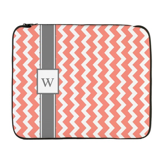 Coral Grey Chevron Monogram