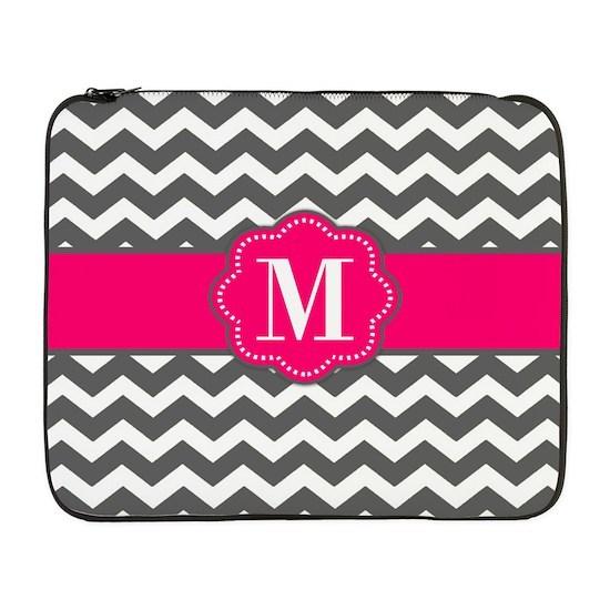 Gray Pink Chevron Monogram