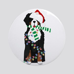 Christmas Bernese Mt Holiday Dog Round Ornament